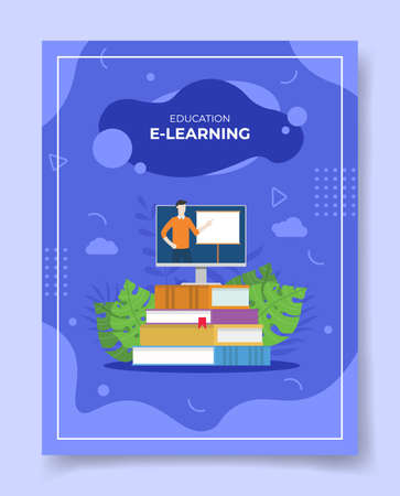 e-learning concept for template of banners, flyer, books cover, magazine vector illustration