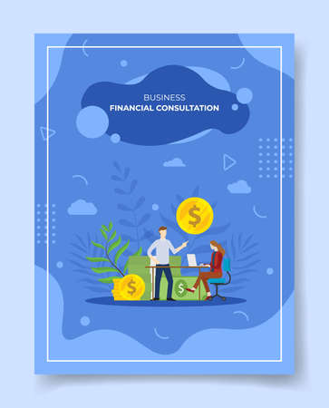 financial consultation concept for template of banners, flyer, books cover, magazine vector illustration