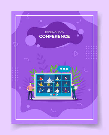 mobile conference video concept for template of banners, flyer, books cover, magazine vector illustration Ilustração