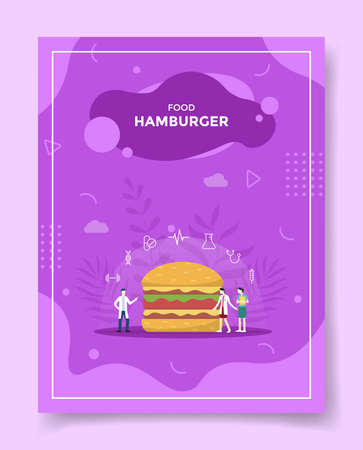 hamburger concept for template of banners, flyer, books cover, magazine vector illustration