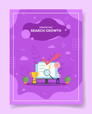 search growth concept for template of banners, flyer, books cover, magazine vector illustration