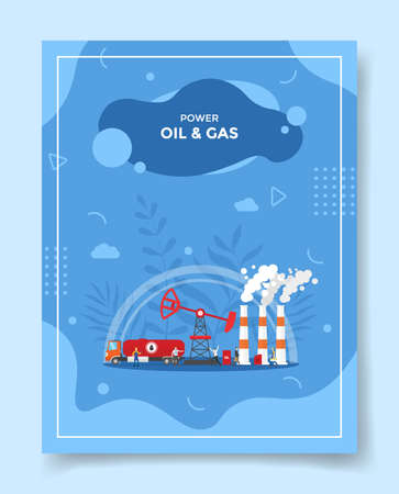 oil and gas industry concept for template of banners, flyer, books cover, magazine vector illustration Ilustração