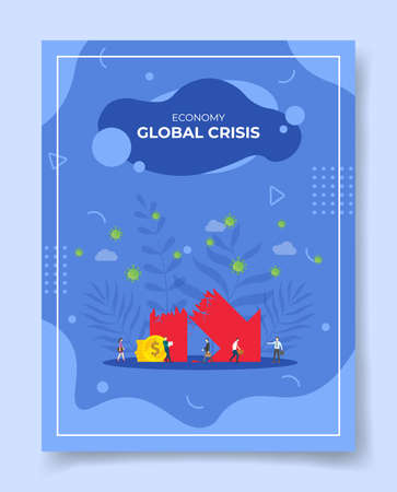 economy or financial crisis concept for template of banners, flyer, books cover, magazine vector illustration Ilustração