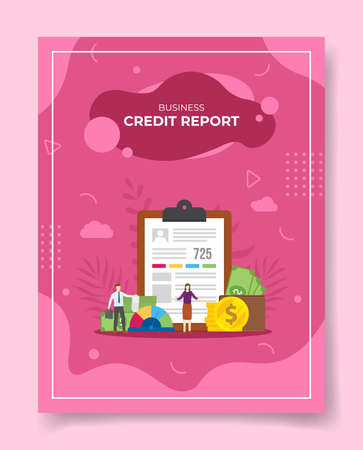 credit report concept for template of banners, flyer, books cover, magazine vector illustration