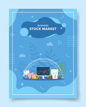 online stock market concept for template of banners, flyer, books cover, magazine vector illustration