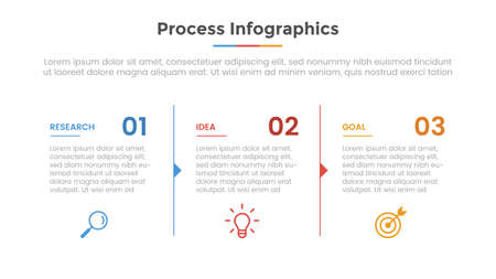process infographic with 3 list point and modern flat style template slide for presentation vector illustration Ilustração