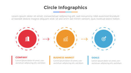 circle infographic with 3 list point and modern flat style template slide for presentation vector illustration Ilustração