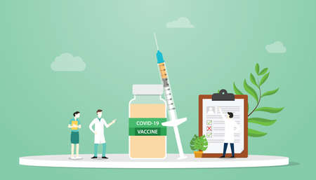 covid-19 coronavirus vaccine concept with team doctor and lab analyst discussion beside syringe and vaccine bottle with modern flat style vector illustration