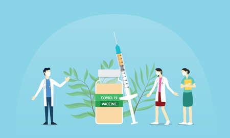 coronavirus covid-19 vaccine reserach with doctor and nurse laboratory team searching for vaccine with modern flat style vector illustration