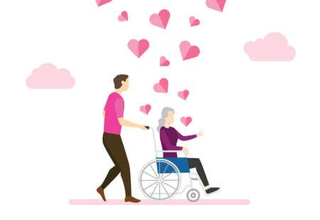 volunteers man help elder people use wheelchair vector illustration