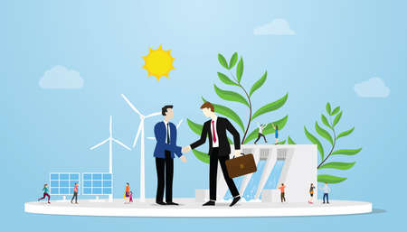 green deal for earth environment between two businessman or government with some power green energy as background vector illustration