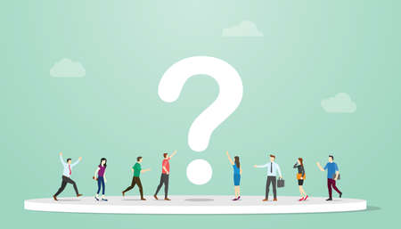 searching or search for answers concept with people and question mark around with modern flat style vector illustration Ilustração