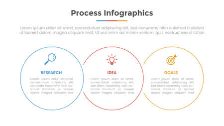 process infographic with 3 list point and circle shape and modern flat style template slide for presentation vector illustration