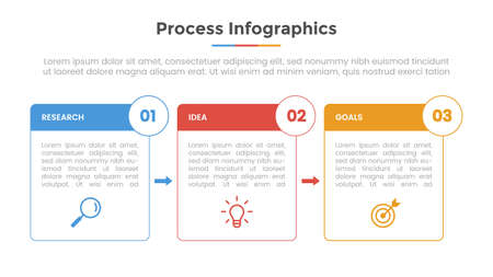 process infographic with 3 list point with rectangle box and modern flat style template slide for presentation vector illustration