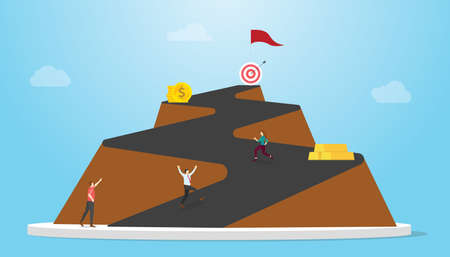long road to success concept with mountain roads and people business man people run to goals with modern flat style vector illustration