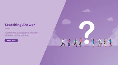 searching or search for answers concept for website design template banner or slide presentation cover vector illustration Ilustração