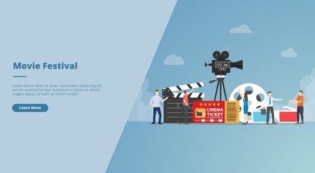 movie festival concept for website design template banner or slide presentation cover vector illustration