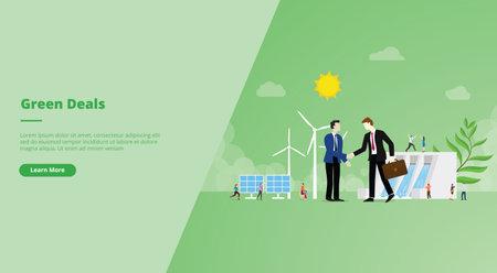 green deal agreement concept for website design template banner or slide presentation cover vector illustration Ilustração