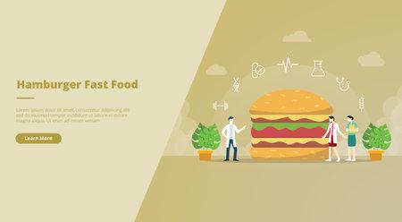 burger junkfood with team doctor analysis concept for website design template banner or slide presentation cover vector illustration