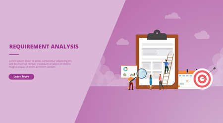 business requirements analysis concept for website design template banner or slide presentation cover vector illustration