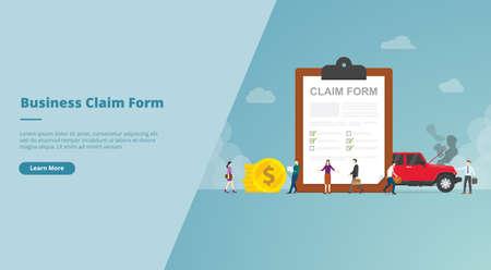 claim form on the clipboard concept for website design template banner or slide presentation cover vector illustration