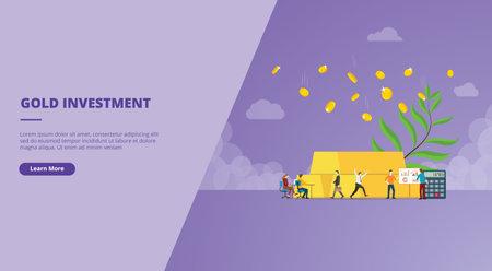 gold investment with gold bar and coin concept for website design template banner or slide presentation cover vector illustration Ilustração