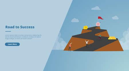 long road to success concept for website design template banner or slide presentation cover vector illustration Ilustração