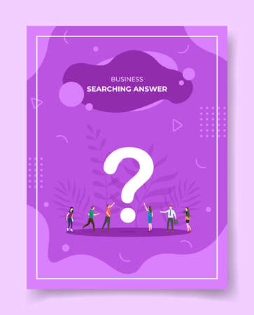 searching for answers for template of banners, flyer, books cover, magazine with liquid shape flat style vector illustration