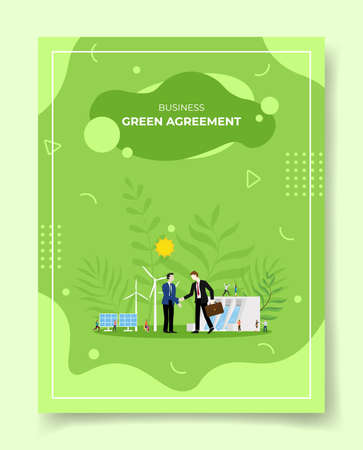 green deal concept for template of banners, flyer, books cover, magazine with liquid shape flat style vector illustration