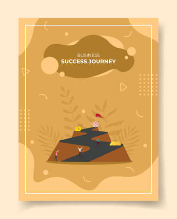 success journey concept for template of banners, flyer, books cover, magazine with liquid shape flat style vector illustration