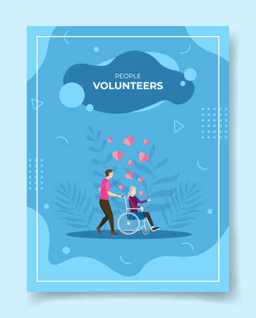 volunteers for template of banners, flyer, books cover, magazine with liquid shape flat style vector illustration