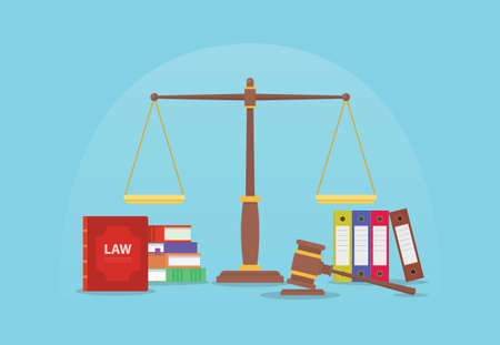 law and legal justice concept with scales and gavel judge and books with modern flat style vector illustration Ilustração