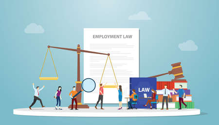employment law concept with document paper and gavel scales and people employee with modern flat style vector illustration