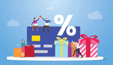 loyalty program with discount and prize box with modern flat style vector illustration