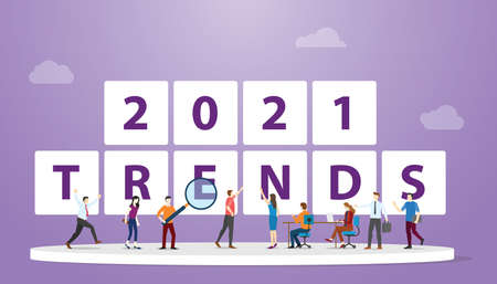 new year 2021 trends with people team analysis and discuss with modern flat style vector illustration