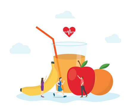 healthy diet with natural food and fruit with modern flat style vector illustration