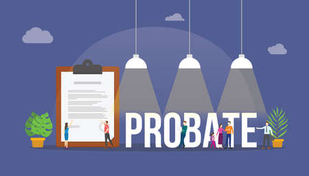 probate law concept with paper document and people around with modern flat style vector