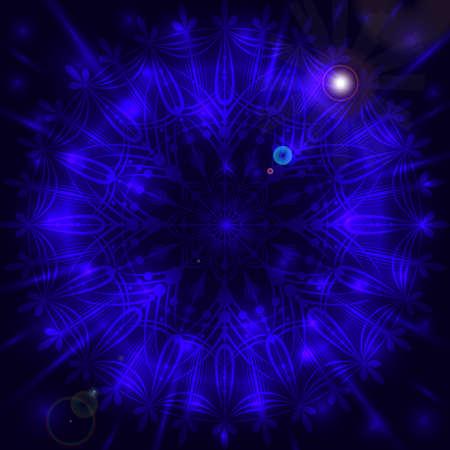 Snowflake mandala rounded background dark blue luster 向量圖像