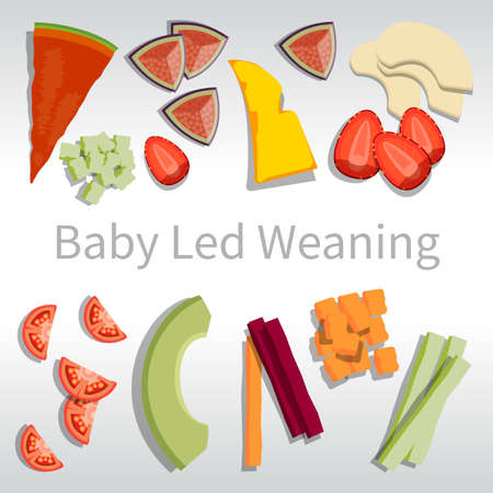 BLW baby led weaning solid food fruits and vegetables on a white square
