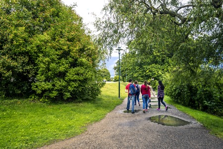Group of young people are walking in the park, Stockholm, Sweden