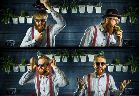 Portrait of bearded hipster with ginger hair in barbershop. Collage.