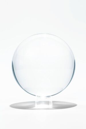 Transparent, grey color sphere made from glass.