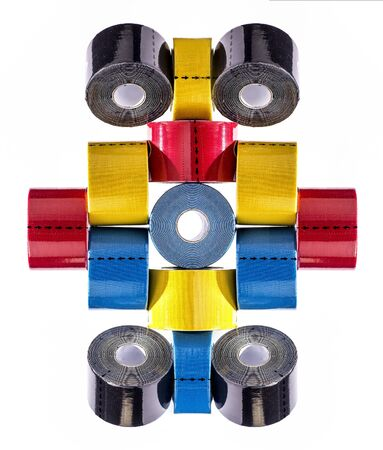 Colorful geometrical figures from reels of medical tape.