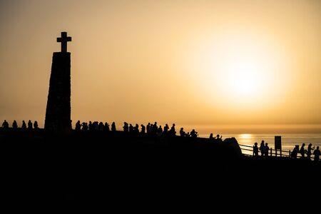 Dramatic Sunset Landscape at Cabo da Roca, Portugal Seascape European Travel Destination Banco de Imagens