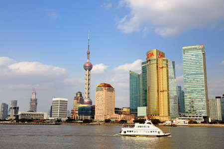 Under the blue sky and white clouds of Shanghai Pudong