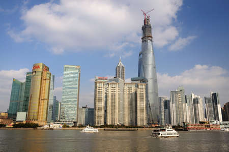 chinese dialect: Under the blue sky and white clouds of Shanghai Pudong Editorial