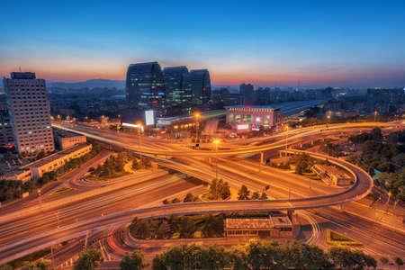 overpass: China Beijing overpass after sunset night
