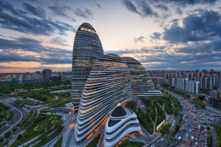 11th: Beijing,China-May 11th,2015:cityscape and famous landmark building,WangJing Soho at night. Editorial