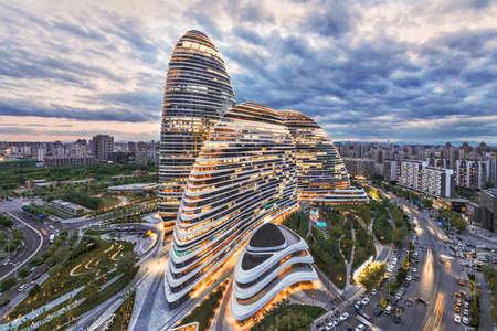 china: Beijing, China- 11 May, 2015: cityscape and famous landmark building, WangJing Soho at the evening.