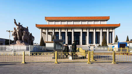 mao: Beijing, China - February 25th, 2015: Chairman Mao Memorial Hall in Tiananmen square
